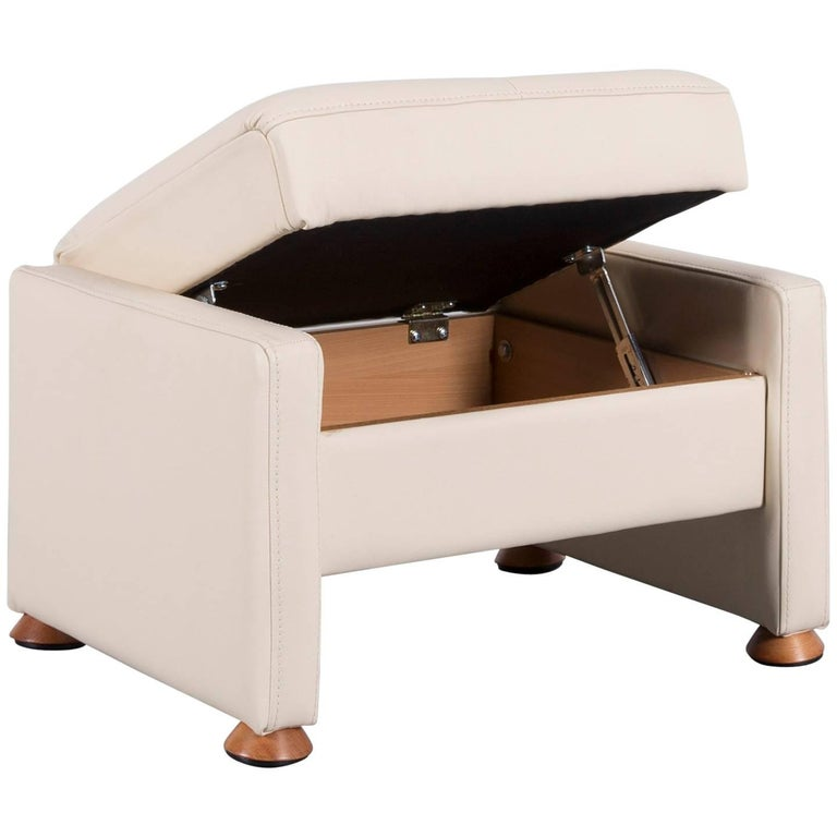 Himolla Leather Foot-Stool Off-White Bench