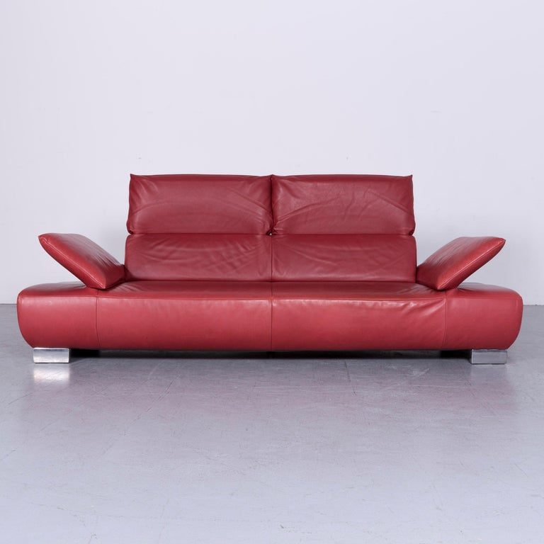 German Koinor Volare Designer Sofa Red Three-Seat Leather Couch with Function For Sale