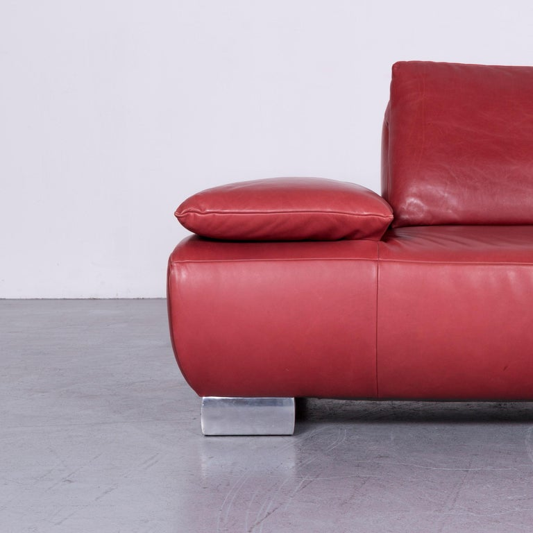 Contemporary Koinor Volare Designer Sofa Red Three-Seat Leather Couch with Function For Sale