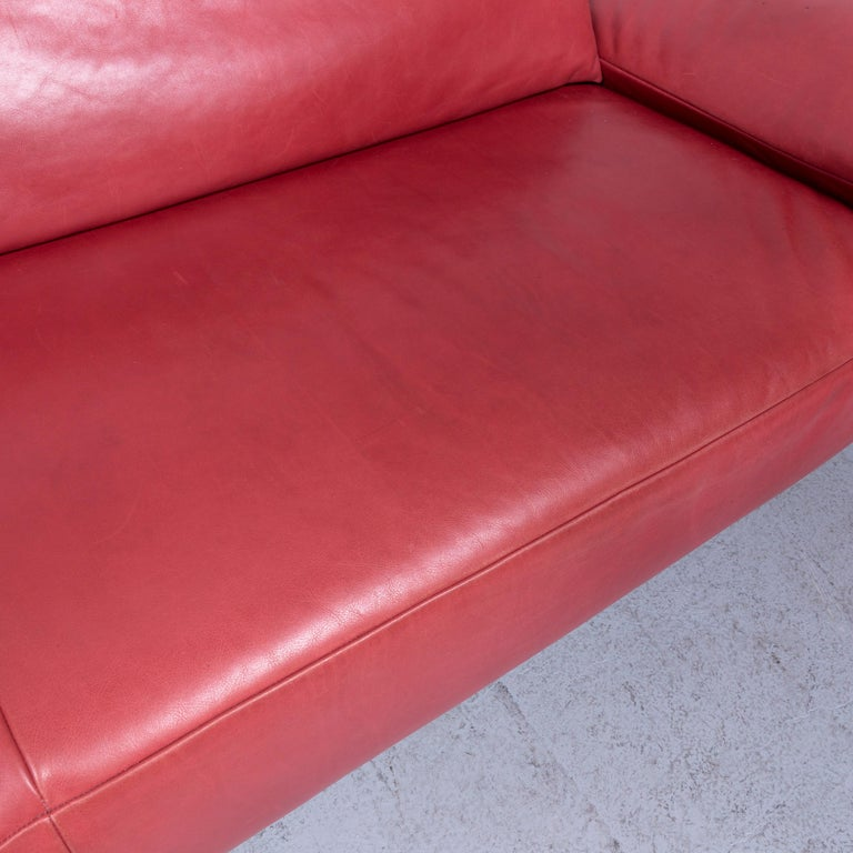 Koinor Volare Designer Sofa Red Three-Seat Leather Couch with Function For Sale 2