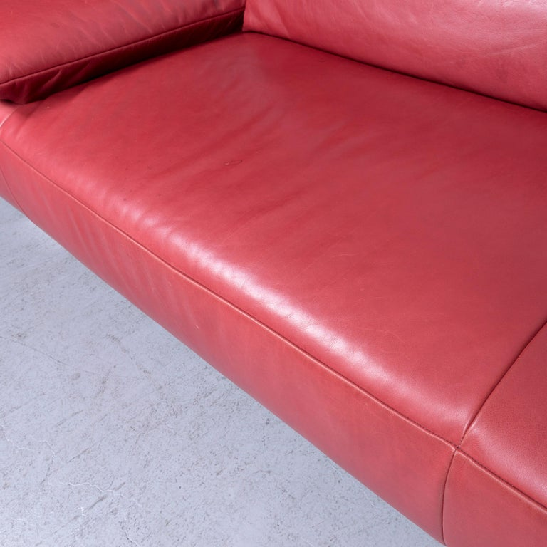 Koinor Volare Designer Sofa Red Three-Seat Leather Couch with Function For Sale 3