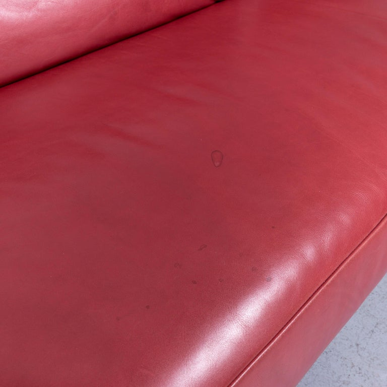 Koinor Volare Designer Sofa Red Three-Seat Leather Couch with Function For Sale 4