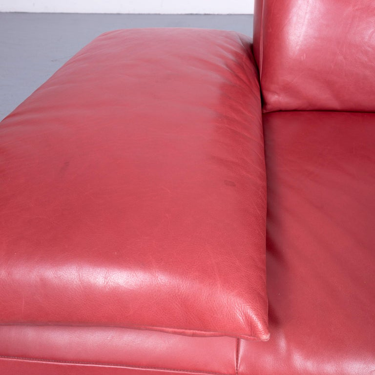 Koinor Volare Designer Sofa Red Three-Seat Leather Couch with Function For Sale 6