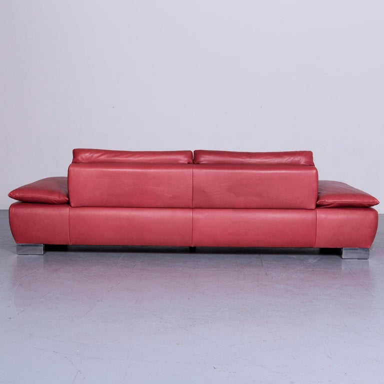 Koinor Volare Designer Sofa Red Three-Seat Leather Couch with Function For Sale 10
