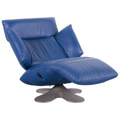 Ligne Roset Leather Armchair Blue One-Seat Couch