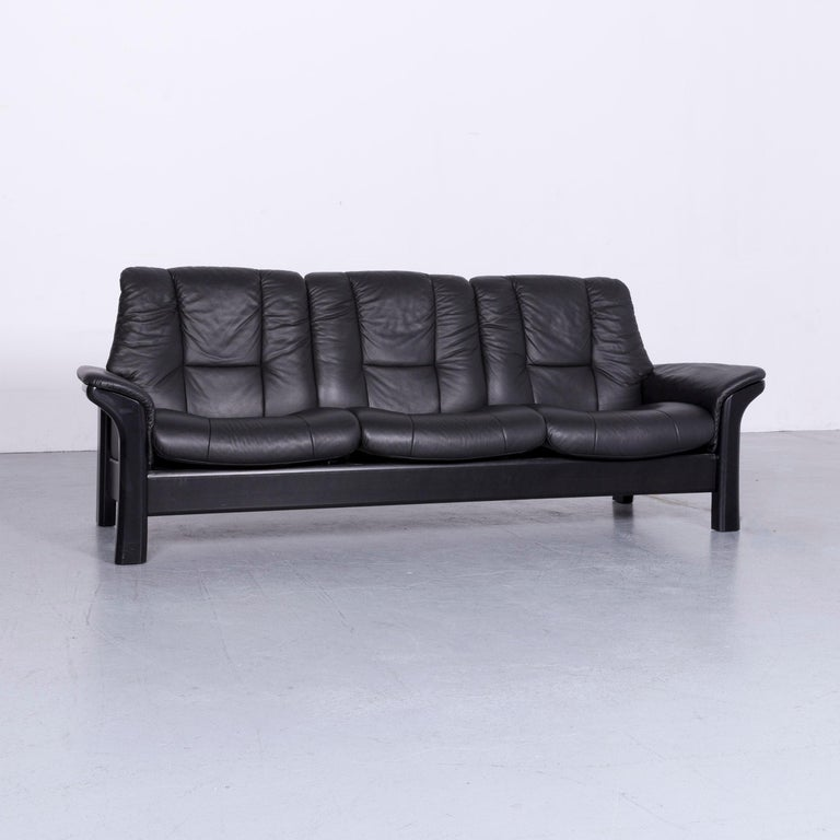 German Stressless Buckingham Three Seat Sofa Black Leather Couch With Function For
