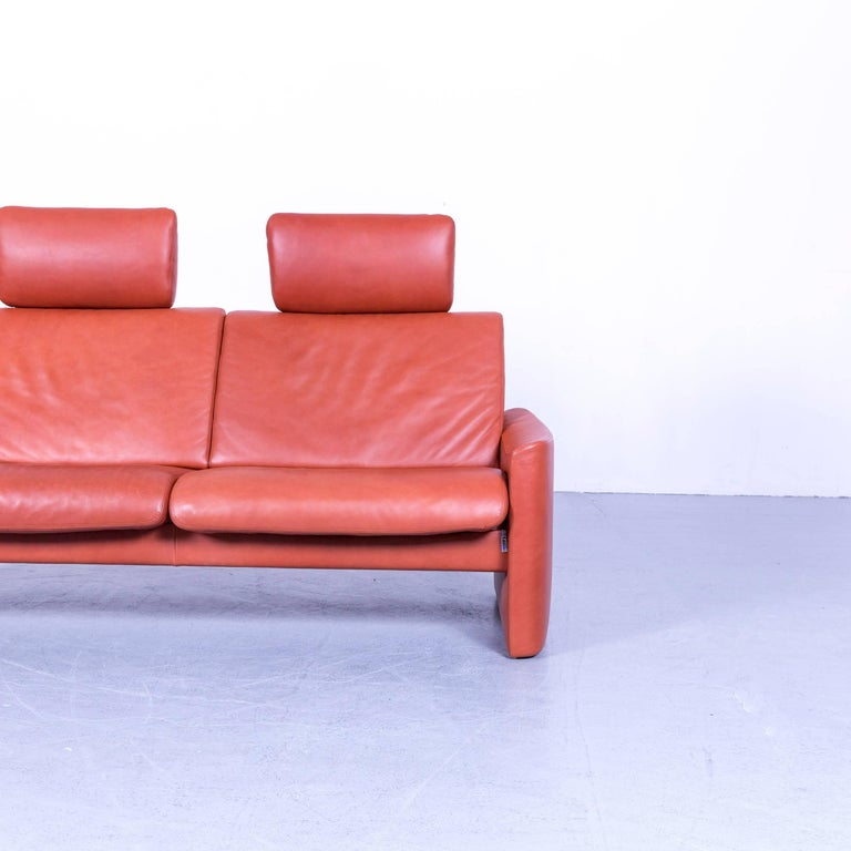 German Erpo Designer Sofa Leather Brown Two-Seat Couch Modern Recliner
