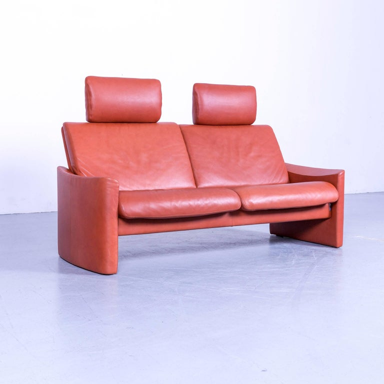 Erpo Designer Sofa Leather Brown Two-Seat Couch Modern Recliner In Excellent Condition In Cologne, DE