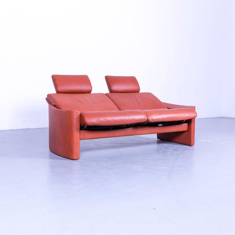 Contemporary Erpo Designer Sofa Leather Brown Two-Seat Couch Modern Recliner