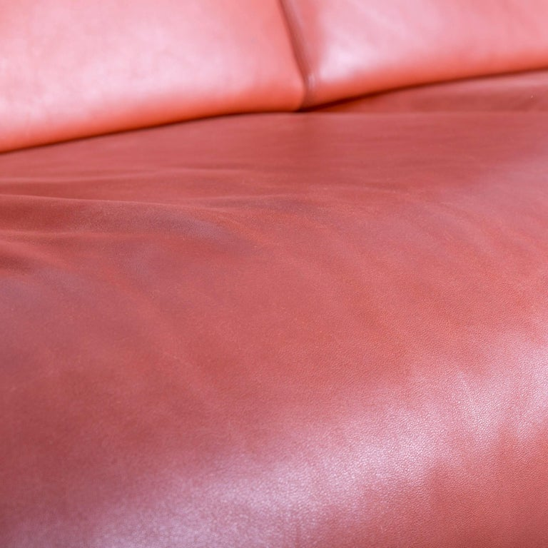 Erpo Designer Sofa Leather Brown Two-Seat Couch Modern Recliner 1