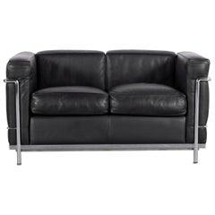Cassina Le Corbusier LC 2 Leather Sofa Black Two-Seat