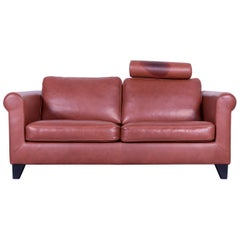 Machalke Designer Leather Sofa Red Two-Seat Couch