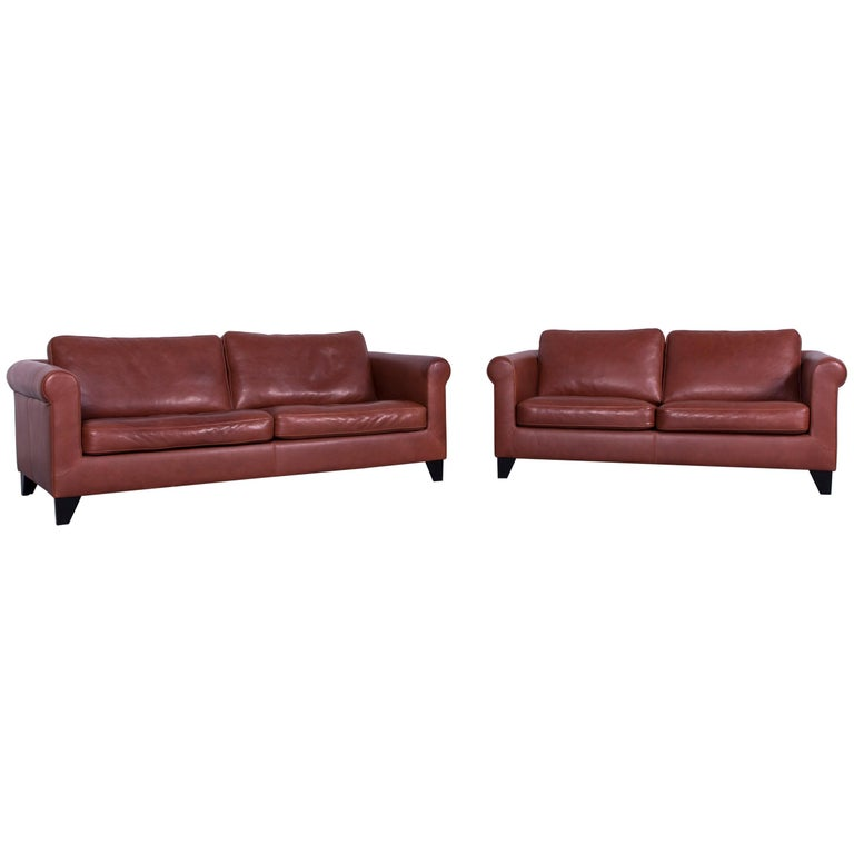 Machalke Designer Leather Sofa Red Two-Seat Couch Set For Sale