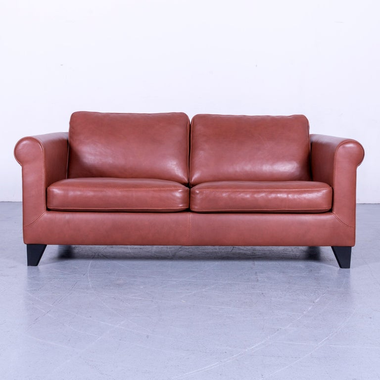 German Machalke Designer Leather Sofa Red Two-Seat Couch Set For Sale