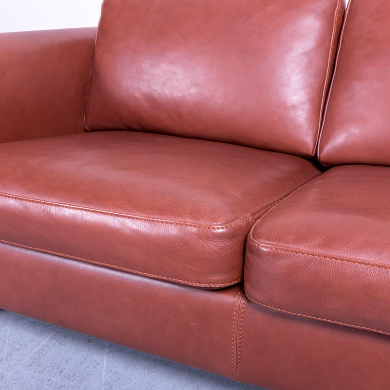 Machalke Designer Leather Sofa Red Two-Seat Couch Set For Sale 2