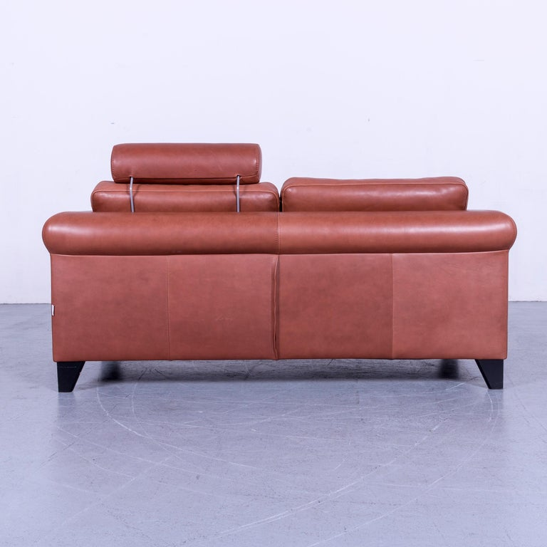 Machalke Designer Leather Sofa Red Two-Seat Couch Set For Sale 8