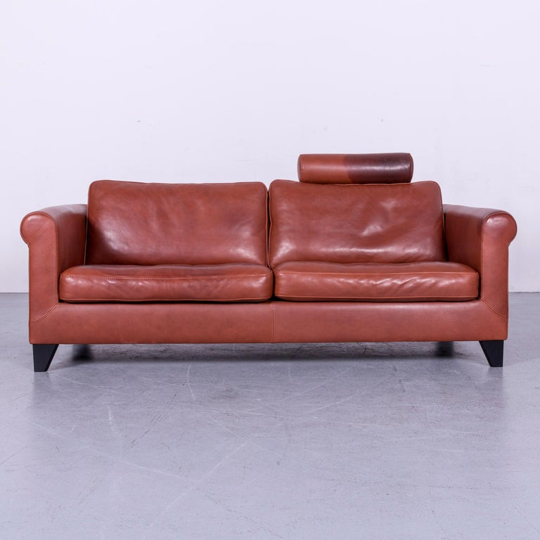 Machalke Designer Leather Sofa Red Two-Seat Couch Set For Sale 10