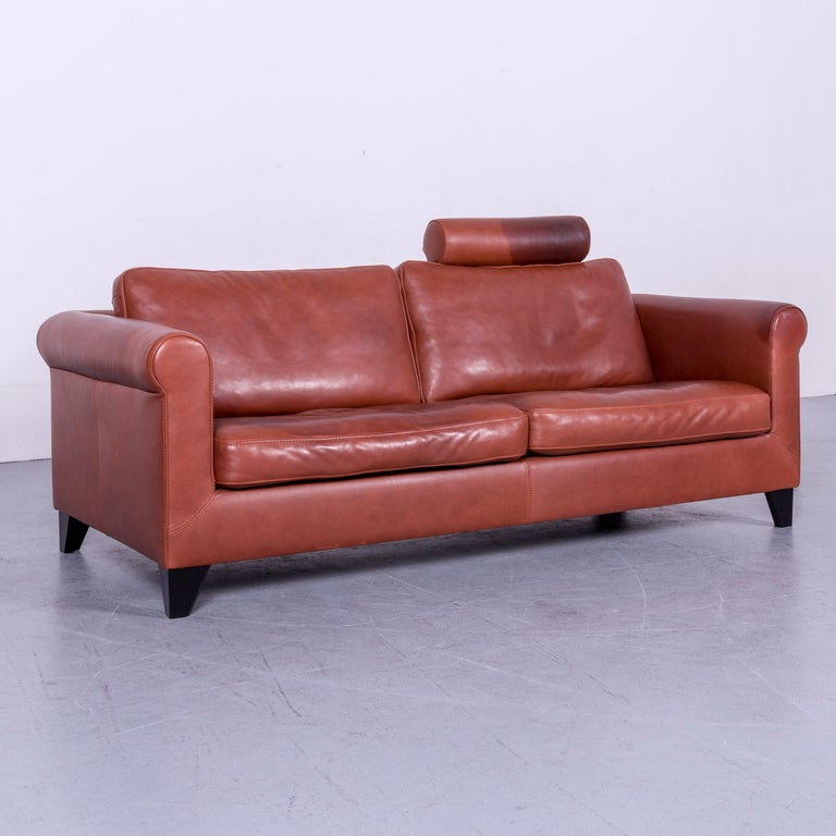 Machalke Designer Leather Sofa Red Two-Seat Couch Set For Sale 11