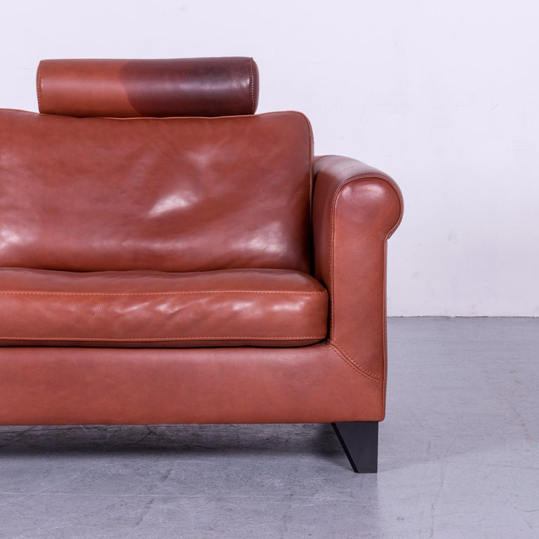 Machalke Designer Leather Sofa Red Two-Seat Couch Set For Sale 13