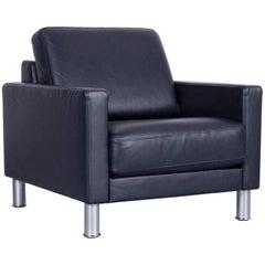 Rolf Benz Ego Designer Leather Armchair Blue