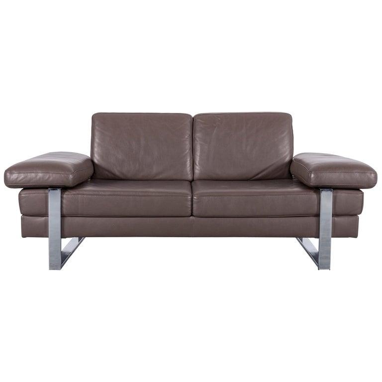 Ewald Schillig Designer Leather Sofa Brown Two-Seat