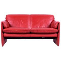Leolux Bora Designer Sofa Leather Orange Red Two-Seat Couch Modern