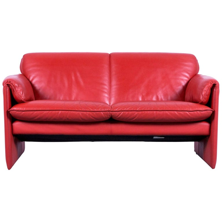 Leolux Bora Designer Sofa Leather Orange Red Two-Seat Couch Modern