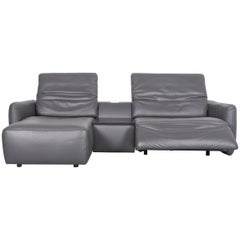 Koinor Alexa Designer Leather Sofa Grey Two-Seat Couch Recliner