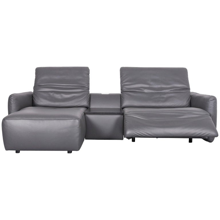 Koinor Alexa Designer Leather Sofa Grey Two Seat Couch Recliner
