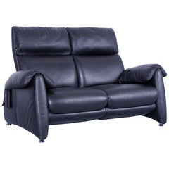 Designer Sofa, Black Leather Two-Seat Couch, Modern Electric Recliner