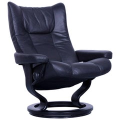 Ekornes Stressless Wing Armchair Black Leather Modern Recliner Chair Designer