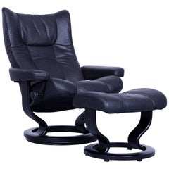 Ekornes Stressless Wing Armchair and Footstool Black Leather Recliner Chair