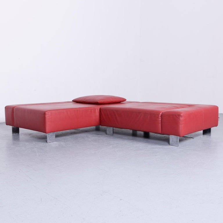 German Brühl & Sippold Fields Designer Sofa Red Leather Corner Sofa with Function For Sale