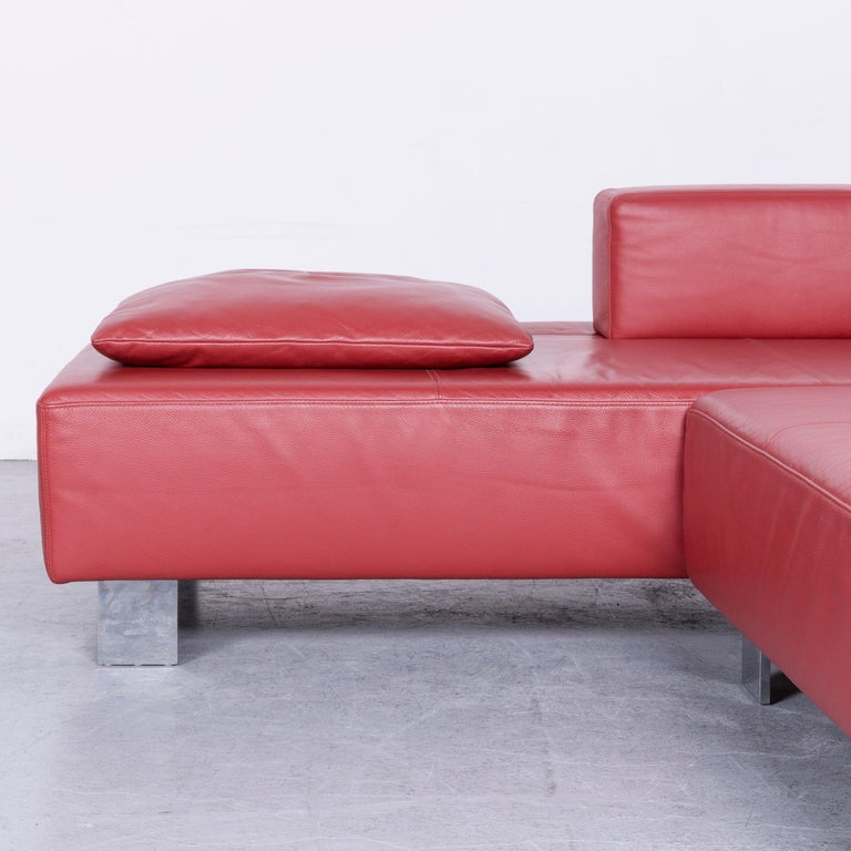 Brühl & Sippold Fields Designer Sofa Red Leather Corner Sofa with Function In Good Condition For Sale In Cologne, DE