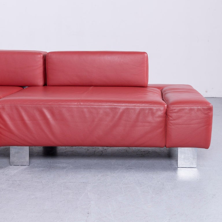 Contemporary Brühl & Sippold Fields Designer Sofa Red Leather Corner Sofa with Function For Sale