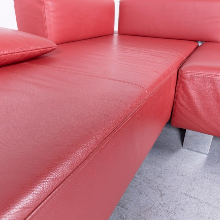 Brühl & Sippold Fields Designer Sofa Red Leather Corner Sofa with Function For Sale 1