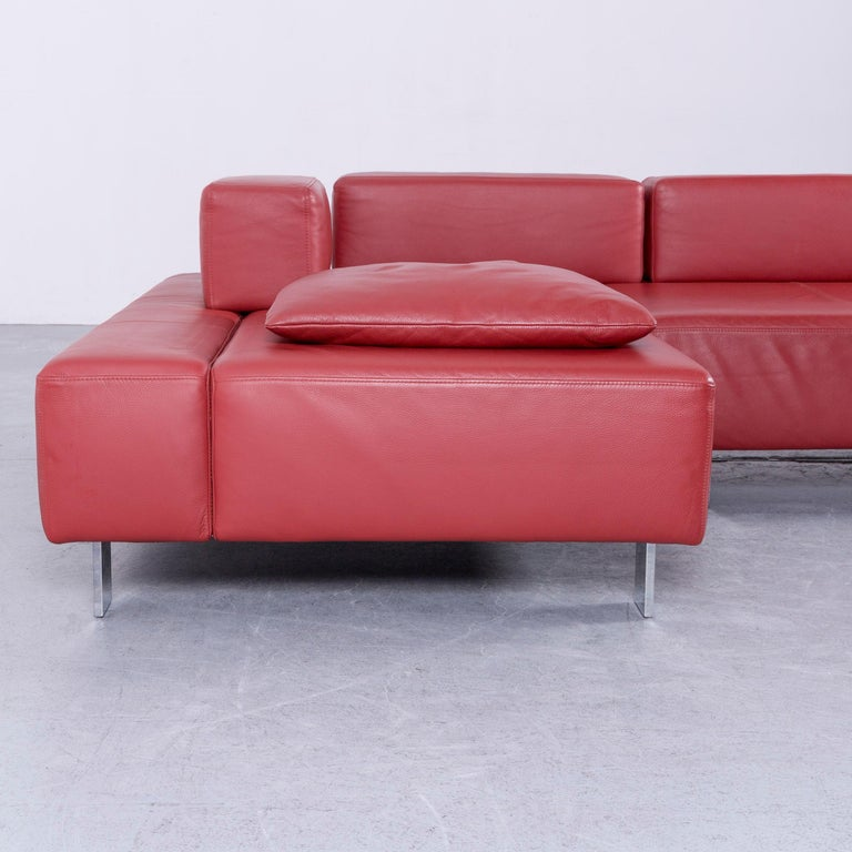 Brühl & Sippold Fields Designer Sofa Red Leather Corner Sofa with Function For Sale 3