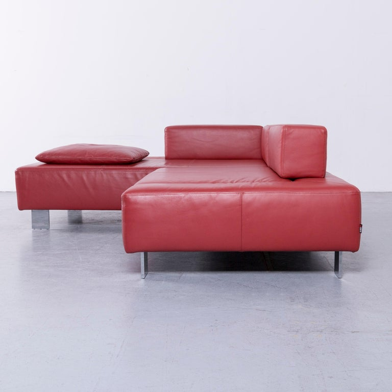 Brühl & Sippold Fields Designer Sofa Red Leather Corner Sofa with Function For Sale 4