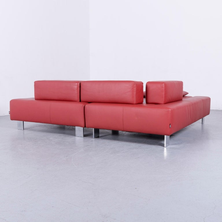 Brühl & Sippold Fields Designer Sofa Red Leather Corner Sofa with Function For Sale 5