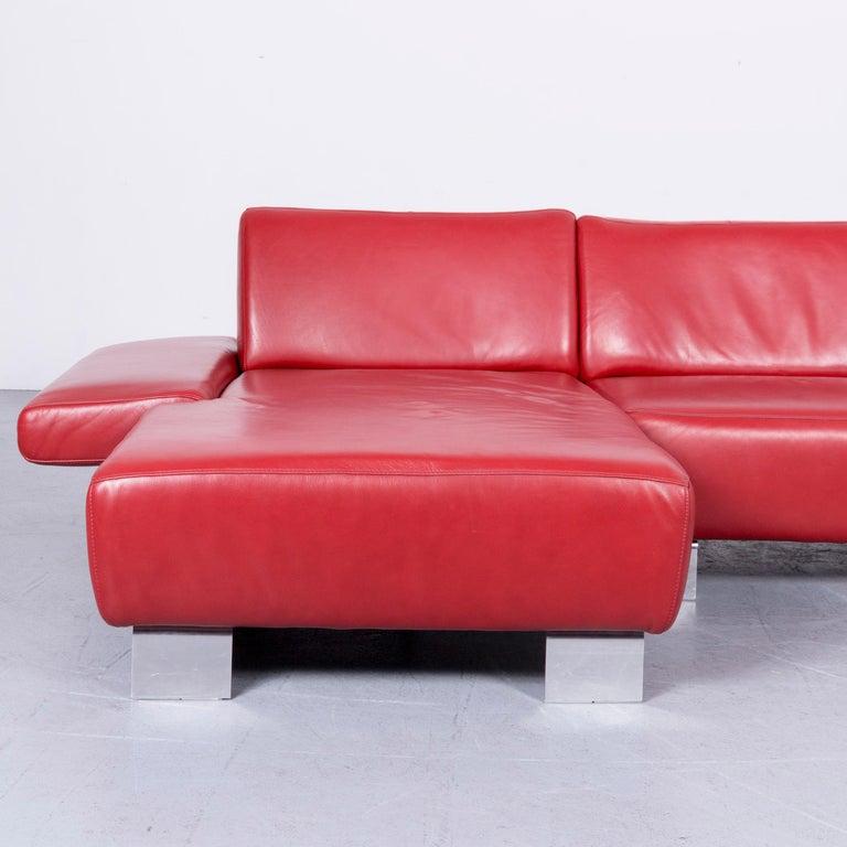 Contemporary Willi Schillig Taboo Designer Leather Sofa Red Corner Couch For