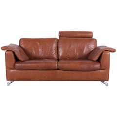 Machalke Designer Leather Sofa Brown Two-Seat Couch