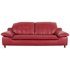Willi Schillig Leather Sofa Red Three-Seat Couch