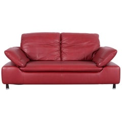 Willi Schillig Leather Sofa Red Two-Seat Couch