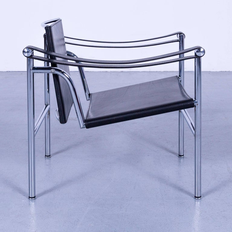 Contemporary Cassina Le Corbusier LC 1 Sling Chair Black Leather Bauhaus