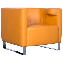 Willy Schillig Leather Armchair Orange-Yellow One-Seat