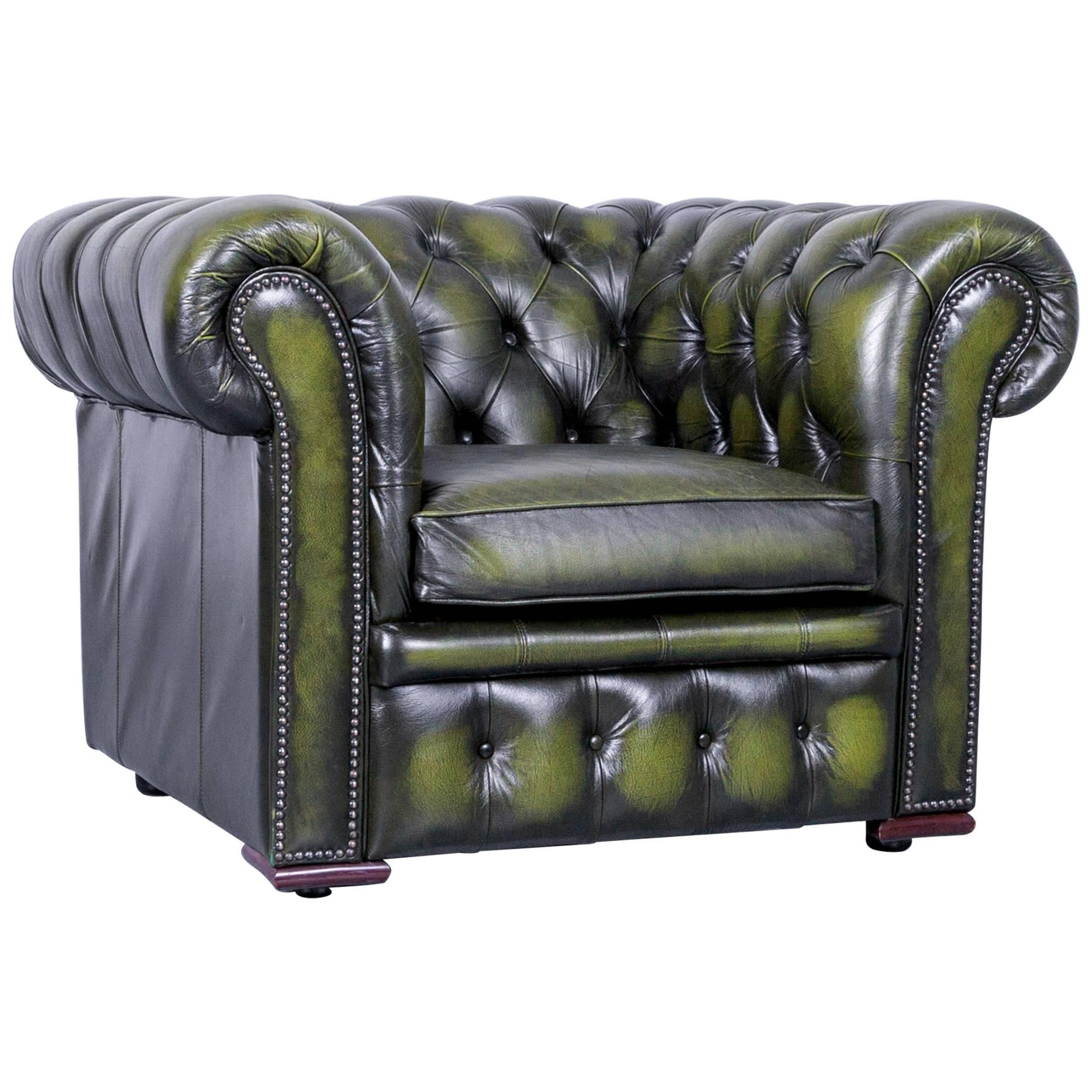 Superieur Vintage Green Chesterfield Leather Buttoned Clubchair