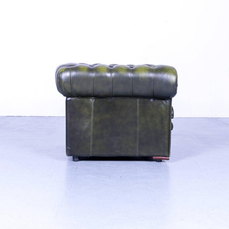 Vintage Green Chesterfield Leather Buttoned Clubchair 1