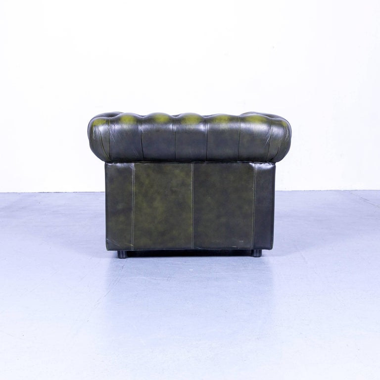 Vintage Green Chesterfield Leather Buttoned Clubchair 2