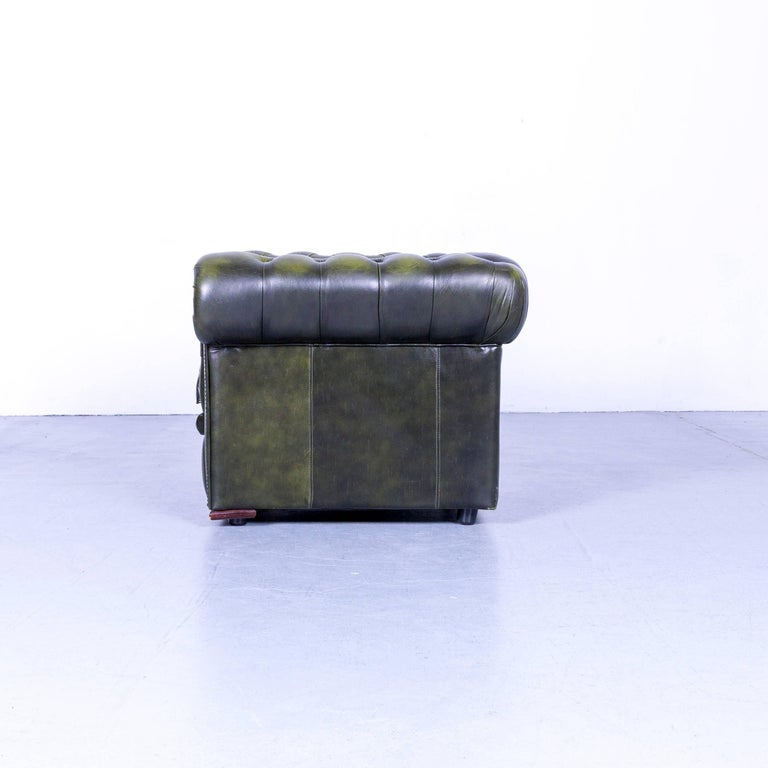Vintage Green Chesterfield Leather Buttoned Clubchair 3