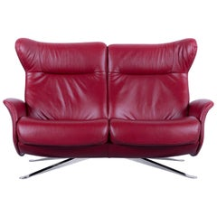 Joop, Leather Sofa Red Two-Seat Recliner